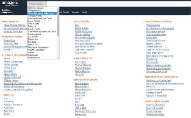 categorie prodotti di amazon