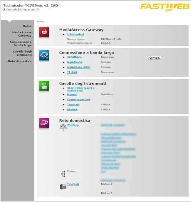 configurazione modem fastweb technicolor TG789vac v2_IAD