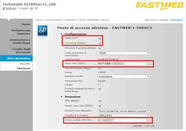 configurazione rete wifi modem fastweb