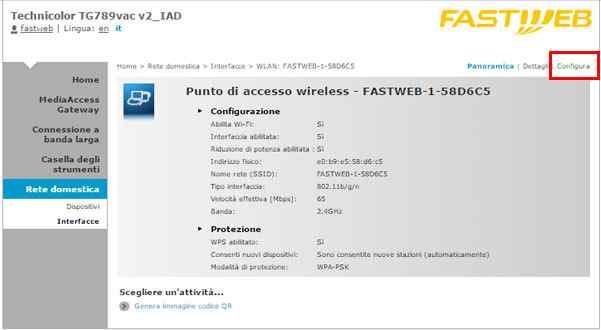 configurazione rete wireless modem fastweb