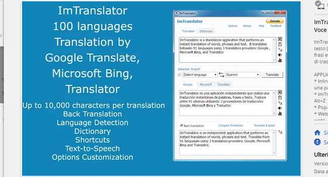 estensione chrome imtranslator