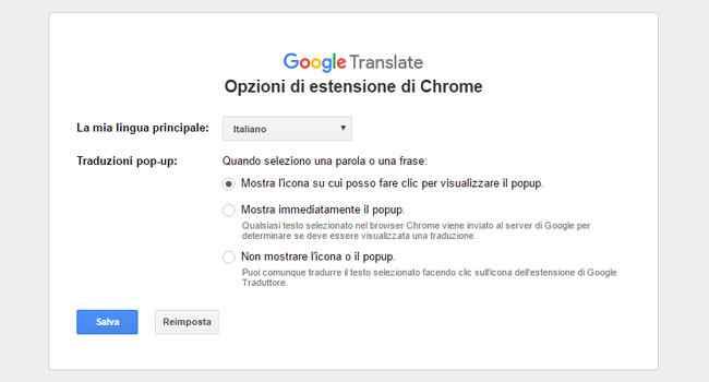 opzioni estensione google traduttore