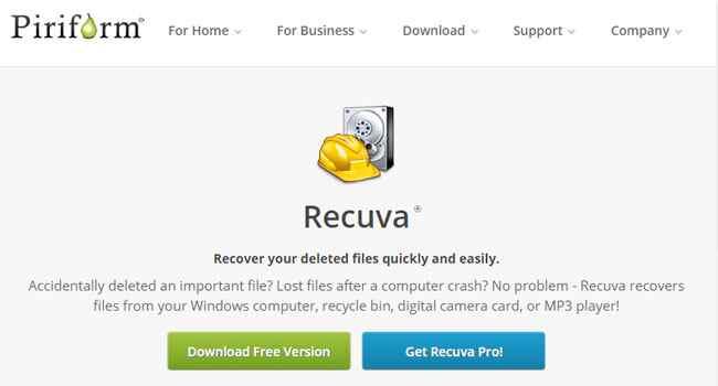recupero dati con recuva free e recuva pro