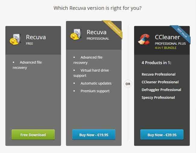 recuva free e pro programma recupero dati