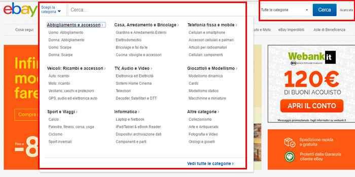 ricerca oggetti per categoria ebay