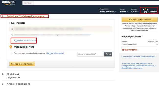 selezionare indirizzo consegna amazon