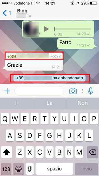 abbandonare gruppo whatsapp cambiando nome profilo