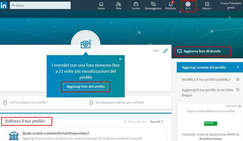 Compilazione Curriculum Vitae LinkedIn