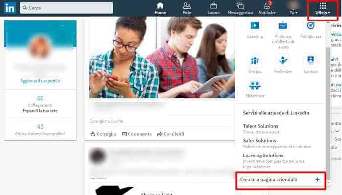 linkedin crea pagina aziendale