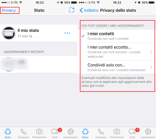 privacy stato whatsapp