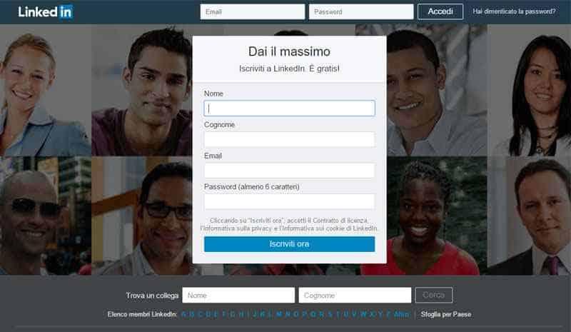 registrazione a LinkedIn