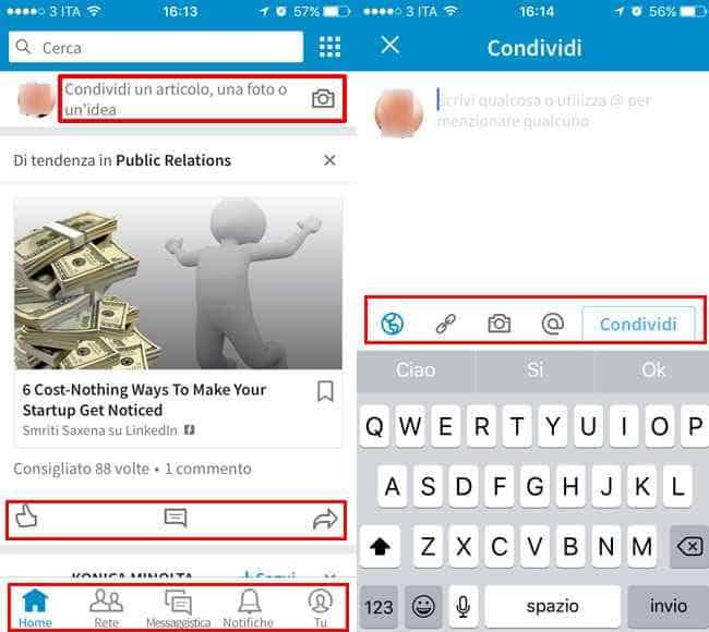 usare app linkedin