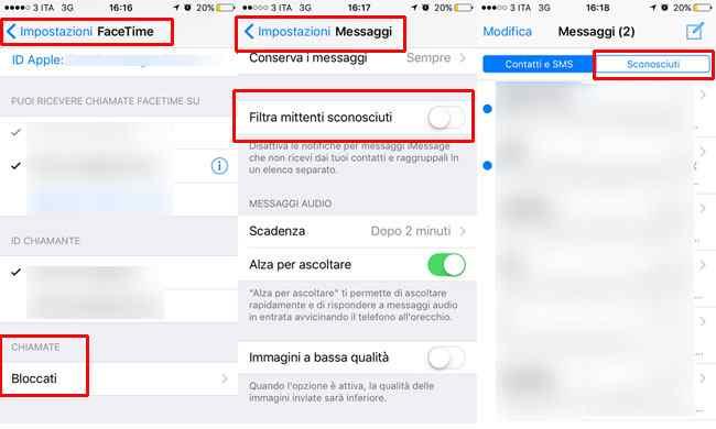 bloccare contatti telefono facetime messaggi iphone