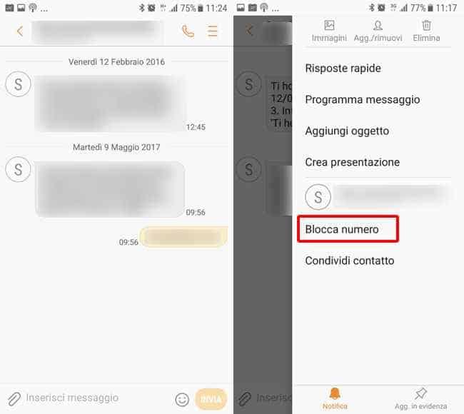 bloccare numero spam android messaggi