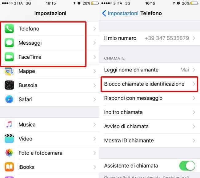 come bloccare contatti rubrica iphone