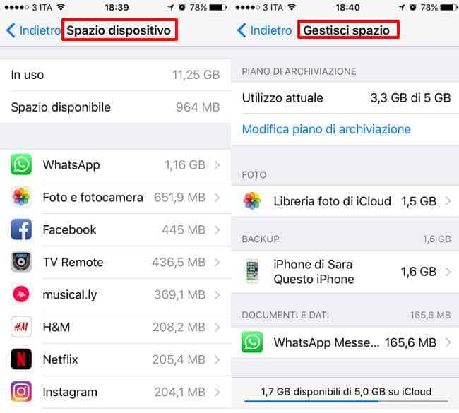 gestione spazio icloud e dispositivo iphone