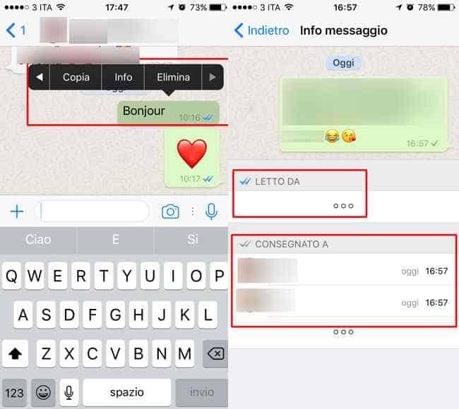 info messaggio chat gruppo iphone whatsapp
