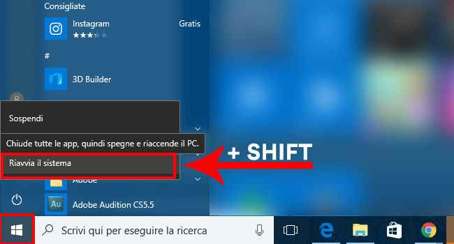 modalita provvisoria windows 10 shift+riavvia