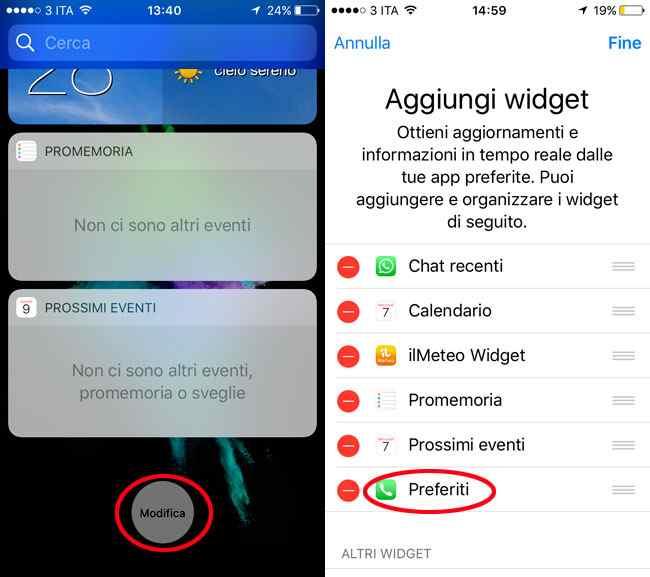 aggiungere lista contatti preferiti sulla lokscreen iphone