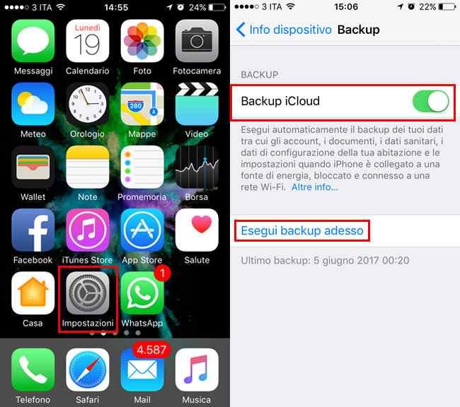 backup iphone su icloud iOS 10.2