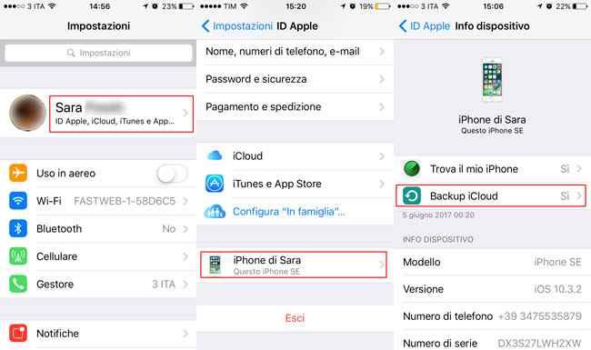 backup iphone su icloud iOS 10.3