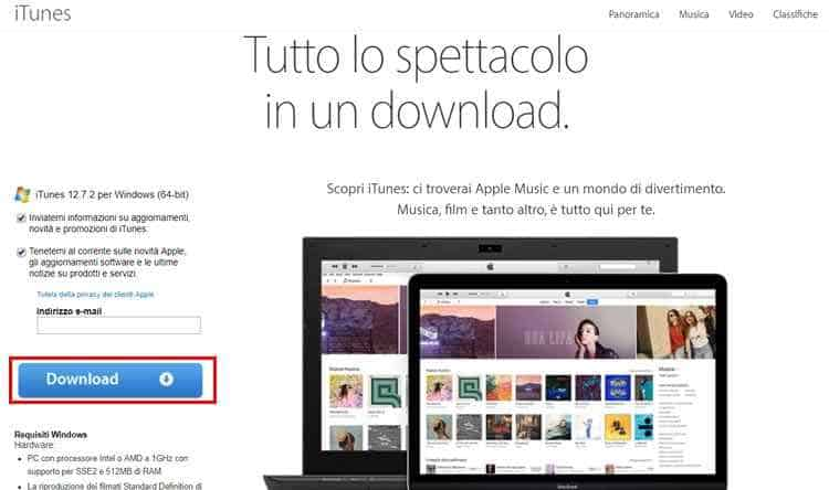 creare id apple itunes download pc