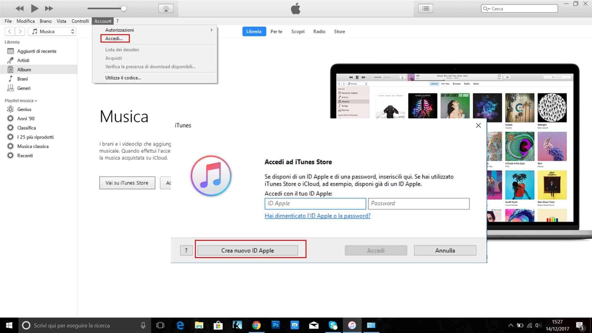 creare id apple itunes pc