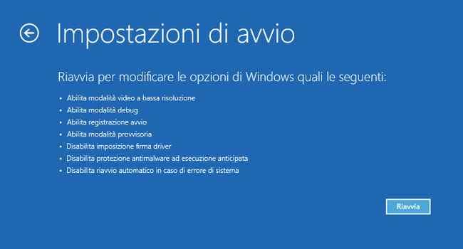 windows 10 impostazioni di avvio