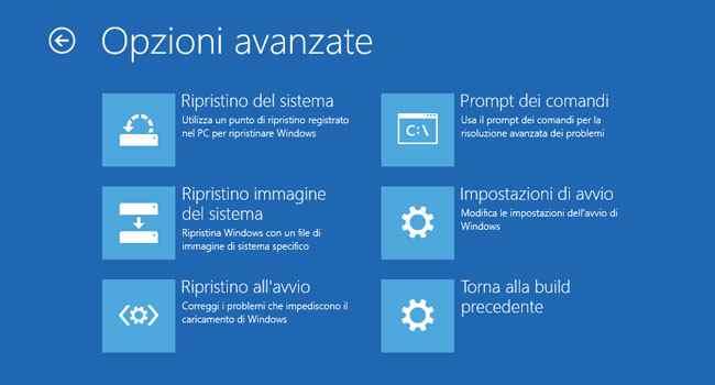 windows 10 modalità provvisoria opzioni avanzate