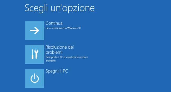 modalità provvisoria windows 10 scegli un opzione