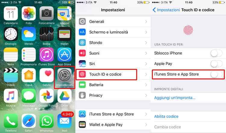 come disattivare touch id iphone