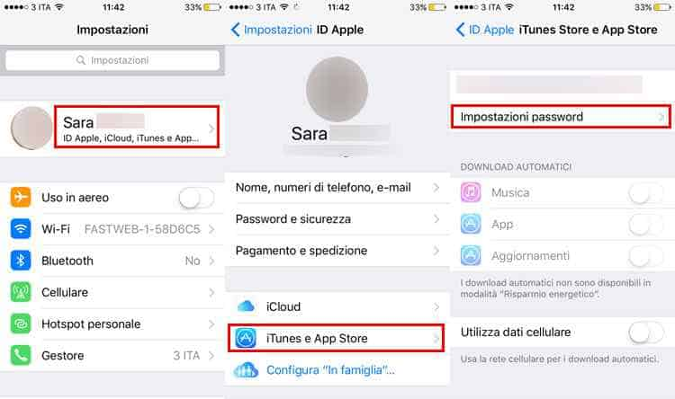 gestire password apple iphone ipad itouch