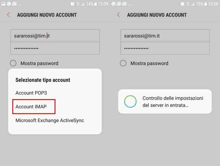 impostazione parametri tim su android protocollo imap