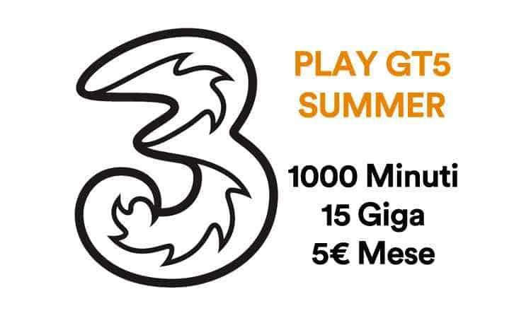 offerta tre play gt5 1000 minuti 5 euro
