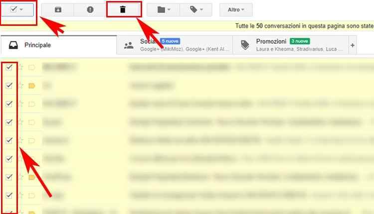 cancellare mail in blocco con strumento seleziona