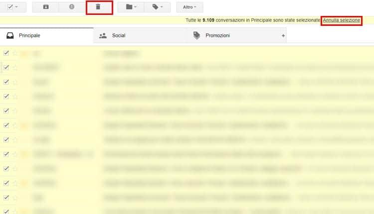 cancellare tutte le mail annulla selezione