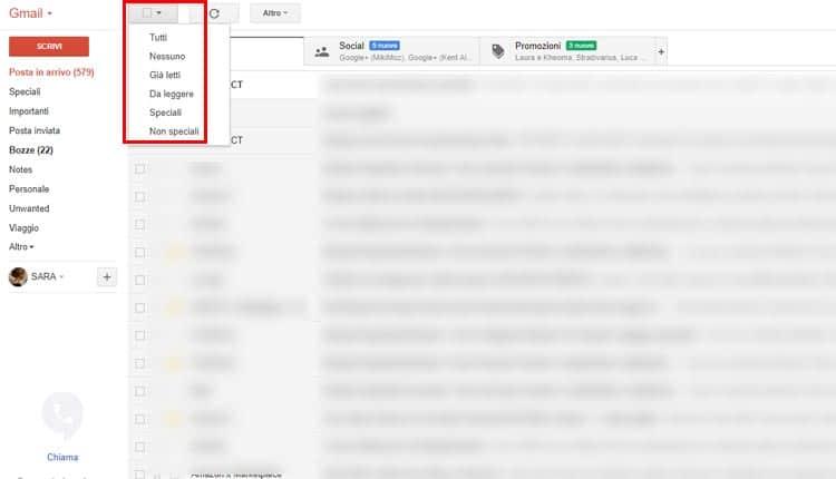 cancellare tutte le mail da gmail strumento seleziona