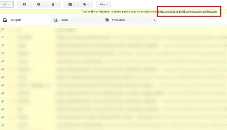 cancellare tutte le mail da gmail