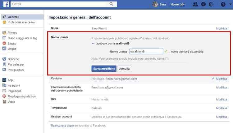 come cambiare url profilo facebook nome utente