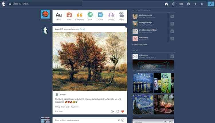 come funziona tumblr dashboard