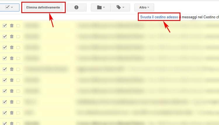 come svuotare cestino gmail