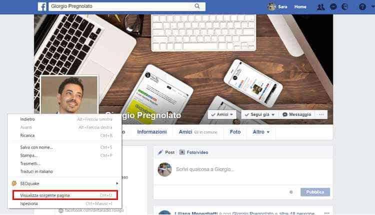 come trovare id facebook visualizza pagina sorgente