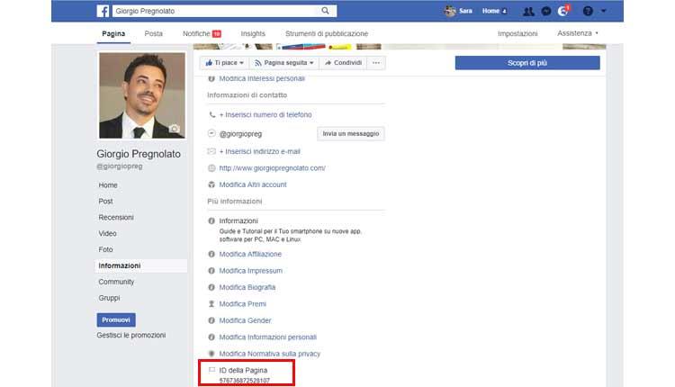 come trovare id pagina facebook metodo 1