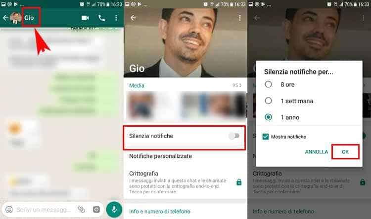 silenziare e riattivvare notifiche chat whatsapp