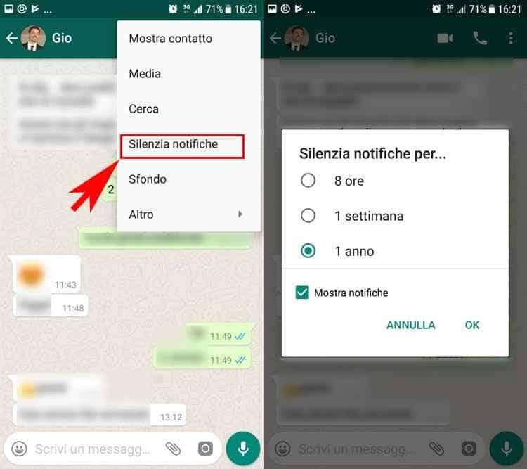 silenziare notifiche whatsapp