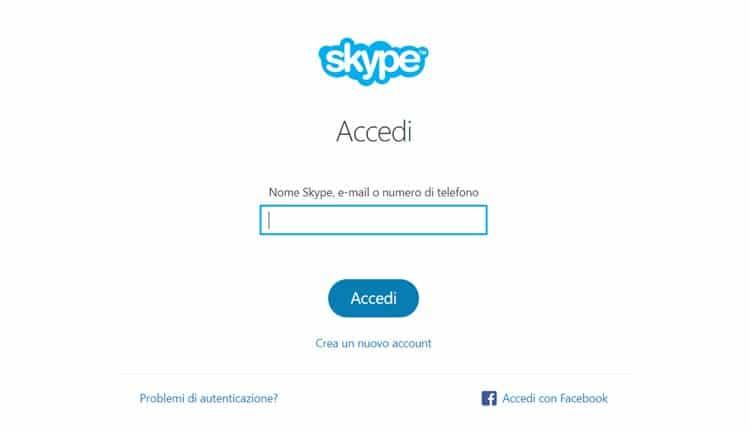 accedere a skype web