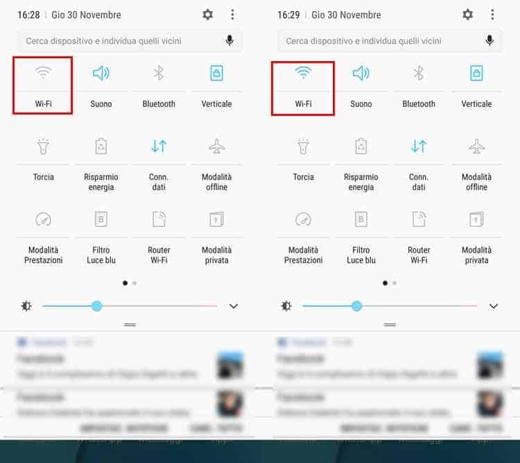 attivare wifi momorizzate su android