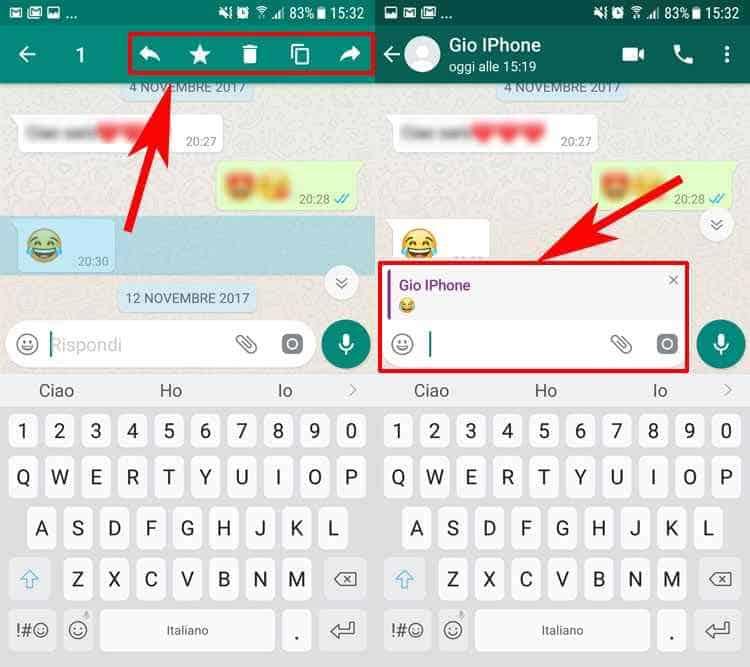 citare messaggio whatsapp android seleziona e rispondi