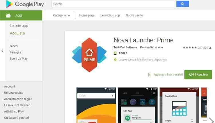 come nascondere app su samsung android nova launcher