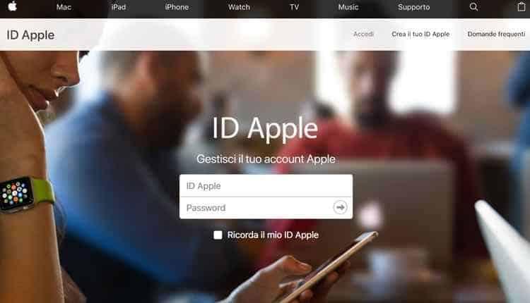creare id apple da sito